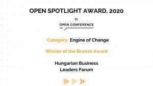 A HBLF OPEN Spotlight Award díjat nyert a Nemzetközi X Mentor Programmal